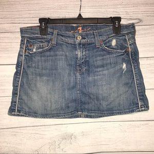 7 For All Mankind Denim Mini Skirt